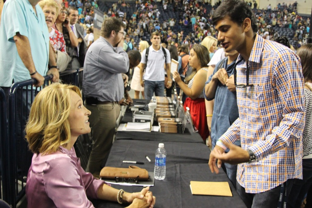 Speaking with students